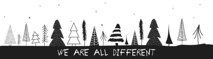 ilustração do vetor de árvores de Natal. árvores de natal desenhadas à mão