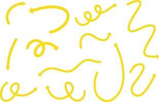 diferentes tipos de setas curvas desenhadas à mão amarela sobre fundo branco vetor