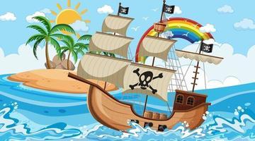 oceano com navio pirata na cena do dia em estilo cartoon vetor