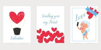 cartão de dia dos namorados com coração vermelho. amo você banner. feriado romântico cartaz ou cartão de dia dos namorados. vetor