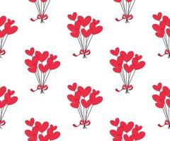 padrão sem emenda de balões de coração vermelho. vetor