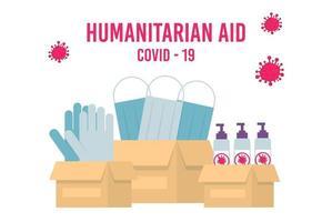 apoio humanitário, missão de boa vontade no país que sofre de epidemia de coronavírus, ajuda intencional, fornecimento de máscaras para o conceito da China. vetor