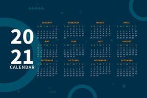 layout de calendário moderno para modelo de design de calendário 2021. semana começa no domingo. design de calendário de página única 2021 vetor