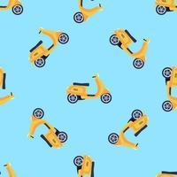 Padrão sem emenda de vetor com patinetes amarelas sobre fundo azul, desenho infantil brilhante