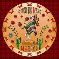 ilustração 3 design sobre o tema mexicano da celebração do cinco de mayo vetor