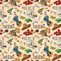 ilustração da cor do contorno de um tema mexicano perfeito para design vetor