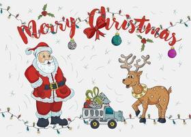 ilustração de cor de contorno de Natal de ano novo para design de decoração vetor