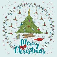 ilustração de cor de contorno de natal de ano novo para design vetor