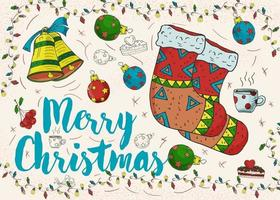 desenho de cor de contorno de natal de ano novo vetor