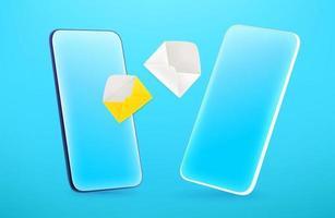 smartphone moderno com mensagens diferentes. Ilustração em vetor editável estilo quadrinhos 3D