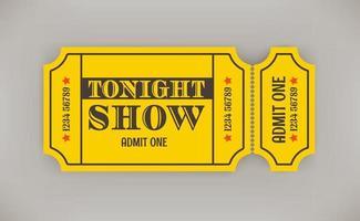 papel estilo retro ingresso para o show desta noite com sombra vetor