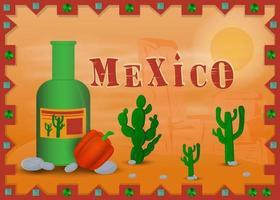 paisagem do deserto mexicano em quadro com uma garrafa de tequila vetor
