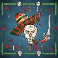 projeto de ilustração sobre o tema mexicano da celebração do cinco de mayo vetor