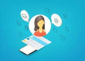 conceito de tecnologias de mídia social. mulher falando por meio de um gadget moderno vetor