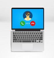 usando aplicativo de comunicação para conferência vetor