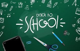 quadro-negro da escola com diferentes objetos e logotipo da rotulação. bem-vindo de volta ao cartão escolar do vetor