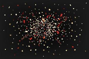 confete de folha de cor e fitas em fundo escuro vetor