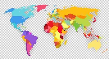 mapa-múndi vetor de cores isolado