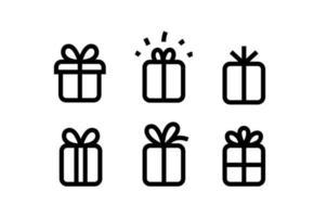 coleção de vetores de ícones de caixa de presente isolada no branco