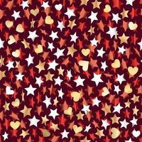 estrelas metálicas e corações sem costura backgrond. banner de vetor
