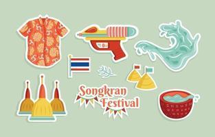 Conjunto de adesivos do festival de salpicos de água de songkran feliz vetor
