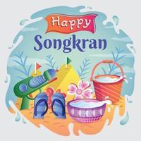 modelo de festival de salpicos de água de songkran feliz vetor