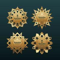 coleção de etiqueta dourada eid mubarak vetor