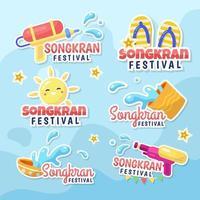 pacote de adesivos do festival songkran feliz vetor