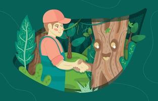 homem apertando a mão com árvore na floresta vetor