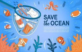 salve o oceano do lixo vetor