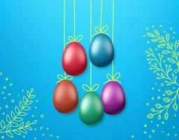 modelo de cartão de saudação de Páscoa. ovos de cor na corda vetor