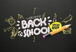 faixa de vetor de oferta especial de volta às aulas