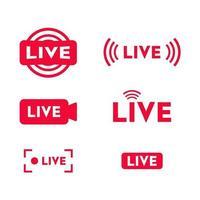 conjunto de ícones de transmissão ao vivo. transmissão ao vivo, transmissão, transmissão online, tv, programas, filmes e apresentações ao vivo. vetor