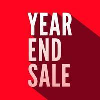 ano final de venda branco letras com sombra longa sobre fundo vermelho. vetor
