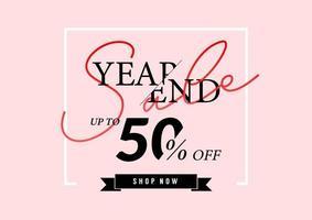 cartaz de venda de final de ano ou design de folheto. venda de final de ano com até 50% de desconto em fundo rosa. vetor