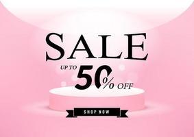 design de modelo de banner de venda rosa. vetor