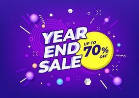 cartaz de venda de final de ano ou design de folheto. venda de fim de ano em fundo colorido. vetor