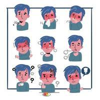 conjunto de sintomas de um homem ficar doente. ele está com tosse, fadiga e dores no peito. coronavírus. vetor