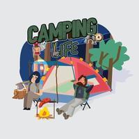 tempo de aventura de acampamento vetor