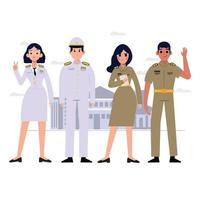 grupo de caráter de oficiais do governo tailandês. uniforme de professor tailandês. vetor