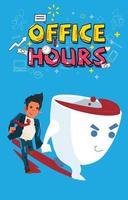 empresário com pressa, verificando o tempo e executando com o personagem de desenho animado de xícara de café grande. vetor