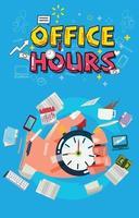 cronômetro na mão com o ícone de ferramentas de escritório. conceito de hora de expediente. vetor