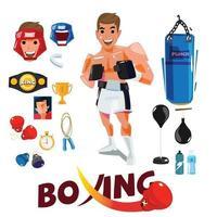 homem boxeador com ferramentas de treinamento e conjunto de equipamentos. vetor
