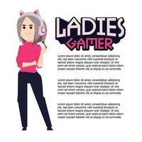 mulher gamer com tipografia
