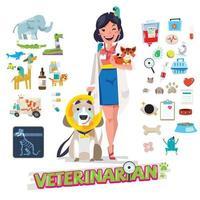 veterinário com animais de estimação. ícones de ferramentas e equipamentos. vetor