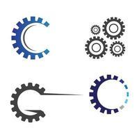 conjunto de imagens do logotipo da engrenagem vetor