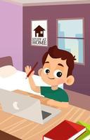 o aluno estuda em casa vetor