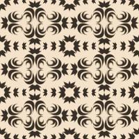 Teste padrão sem emenda do vetor de elementos florais e abstratos de uma cor escura em um fundo bege.