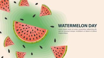 design de dia de melancia com fatias de melancia vetor