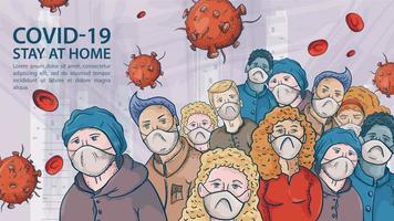 uma multidão muito grande de pessoas com máscaras médicas entre as moléculas de coronavírus cobiçosos vetor